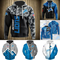 Detroit Lions Hoodies Men's Casual Jacket Full Zip Hooded Football Sweatshirts
