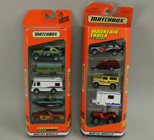 Lot 2 Rare NOS New 1997 Matchbox 5 Pack Gift Sets Mountain Trails & Canyon Base