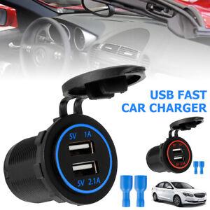 Dual USB Fast Car Charger Socket Power Outlet W/QC 3.0 Adapter LED Voltmeter 12V