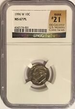 1996 W ROOSEVELT DIME NGC MS67 PL PROOF LIKE # 21OF 100 GREATEST US MODERN COINS
