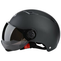 Bike Motorbike Safety Helmet Motorcycle Half Helmet w/Smoke Sun Visor Scooter