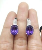 OV10X8 PERFECT NATURAL AMETHYST WHITE CZ -STERLING 925 SILVER EARRING