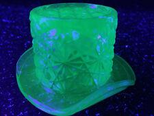 Blue Vaseline glass toothpick holder top hat daisy & button uranium cobalt neon