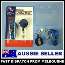 One Set lanyard + ID card Badge holder + Retractable Clip Reel Strap Blue AUSSIE