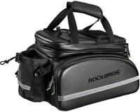 RockBros Bicycle Rear Carrier Bag Waterproof Carbon Leather Rear Trunk Pannier