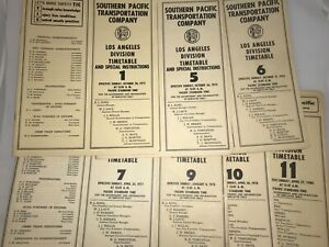 Southern Pacific Employee Timetables Lot of 7 Los Angeles Division 1973 - 1980