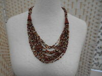 Retro Hand Made Amber Tones Multi Strand Glass Micro Beads and Clay Necklace.