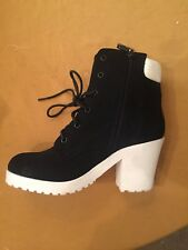 New With Box SHIEKH Suede Keelo-H Round Toe Ankle Boots Heeled Women Booties