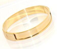 Technibond Bold Bar Bangle Bracelet 14K Yellow Gold Clad Silver 925 Oval Fit