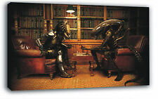 Alien vs Predator Chess Game 20x14 inches POSTER FRAMED ON CANVAS & MOUNTED