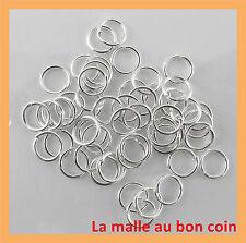 LOT DE 200 ANNEAUX SIMPLES ARGENTÉ 6 MM PERLE BIJOUX APPRET NEUF -fdpg010