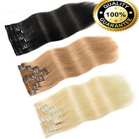 """AU 7A Double Weft THICK Clip in Human Remy Hair Extensions 12""""-24"""" Dark Blonde M"""