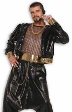 80's Hip Hop Unisex Rap Star Jacket Blk Wet Look Poly Fabric W/ Gold Lame Trim