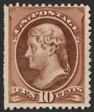 US Sc# 209 *UNUSED NG H* { 10c BROWN JEFFERSON } AMERICAN BANK NOTE FROM 1882