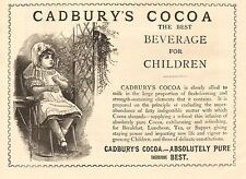 1890 ANTIQUE PRINT- ADVERT-CADBURY'S COCOA-BEVERAGE FOR CHILDREN-YOUNG GIRL
