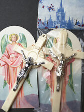 Vintage Ornate 1950s Plastic Crucifix and Angel