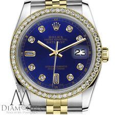 Unisex Rolex 36mm Datejust Blue 8+2 Diamond Accent Jubilee 18k & SS Watch