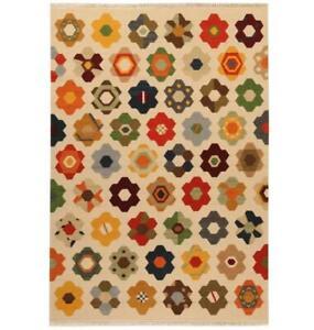 Star Handmade Kilim Wool Cotton Beige Geometric Floral Runner 200 x 60cm