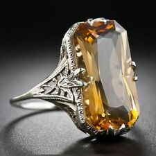 Large Square Yellow Citrine Solitaire Band Ring Women Engagement Wedding Gift