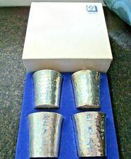 Vintage Set/4 Sweden MEMA Silver EPNS Handmade Silver Vodka/Shot Cups-Boxed