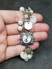 Jean Marc Japan Quartz Watch Pearl Disc Bead Bracelet 7""
