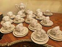 15 Vintage Cups Saucers Cake Plates German Jlmenau Porcelain Coffee Set