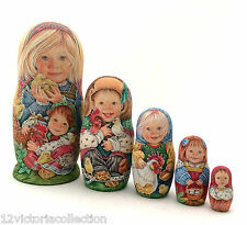 Unique Russian Nesting DOLL Hand Painted ONE of Find Babushka set