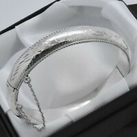 1997 Vintage 925 Sterling Silver Engraved Design Hinged Bangle Bracelet