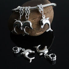New 5PCS Silver Plated Dangle Dolphin Charms Loose Beads Fits European Bracelets
