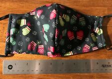 Red & Green & Black Mittens Winter Face Mask, 2 fabric layers, fitted, adult