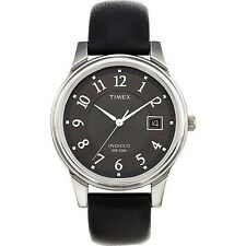 Timex T29321, Men's Easy Reader Black Leather Watch, Indiglo, Date, T293219J