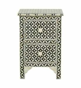 Bone Inlay Bedside Table Home Decor Purpose Attractive Design Beautifully Table