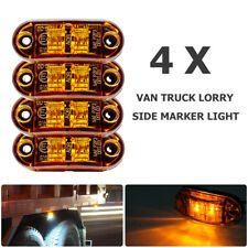 4x Orange Marker Side Led Trailer Truck Lorry Recovery Position Lights Lamps 12v