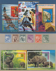 CA39 Birds Wild Animals Elephant Crocodile 5s/s+6v Goat