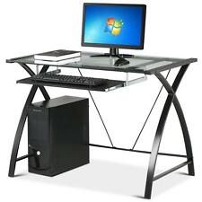New Glass Top Computer Desk Legs Sliding Keyboard Tray Home Office