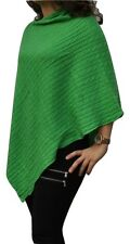 100% Pure Cashmere Cable Knit Poncho, Emerald Green, Handcrafted In Nepal