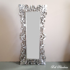 Antique Silver French Provincial Hand Carved Rectangle Mirror Luxury - 30F