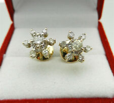 Cluster Natural Diamonds Studs Snowflake Shape Earrings 10k Yellow Gold Vintage