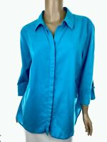 Chico's Blue Blouse Top Size 3P (16-18) Lace Up 3/4 Sleeves Cotton Button Front