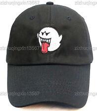 Distressed Boo Mario Ghost Embroidery Dad Hat Baseball cap black Denim