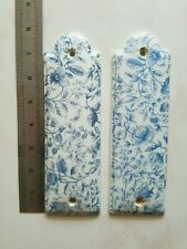 French vintage porcelain cleanness door plates authentic charm shabby 1950 blue