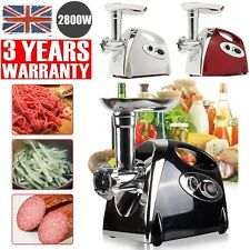 New! 2800W Electric Meat Grinder Mincer &Sausage Maker Machine in Black 3 Plates