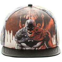 DC COMICS BATMAN SUBLIMATED FAUX LEATHER FLAT BILL SNAPBACK HAT CAP ADJUSTABLE