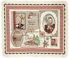 French Placemat Jacquard Christmas French Alps Skiing Mountains Made In France