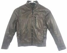 Calvin Klein Mens Dark Brown Faux Leather Full Zip Jacket Size S