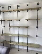 Reclaimed Wood Industrial Large Shelving Unit Rustic Metal Bookcase Brand New