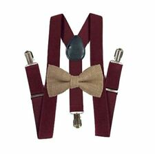 New Barnyard Burgundy Suspender and BOW TIE SET Tuxedo Wedding Suit Hemp