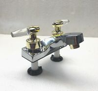 "RV/Camper/Trailer - 4"" Lavatory Bathroom Faucet, CHROME, Gold Colored Handles"