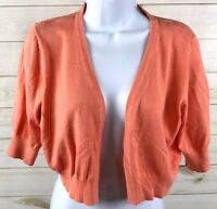 Maurices Women's Cropped Open Cardigan 3/4 sleeve Coral Size XL EUC A6306