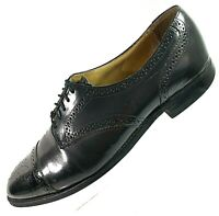 JOHNSTON & MURPHY Optima Mens Shoes 10.5 D Wingtip Oxford Black Leather Tie